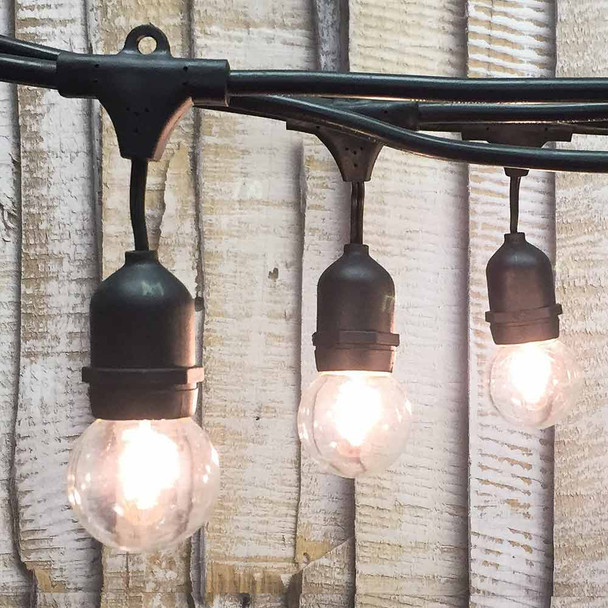 100' Black Commercial String Light, Suspended Socket & G50 Bulbs