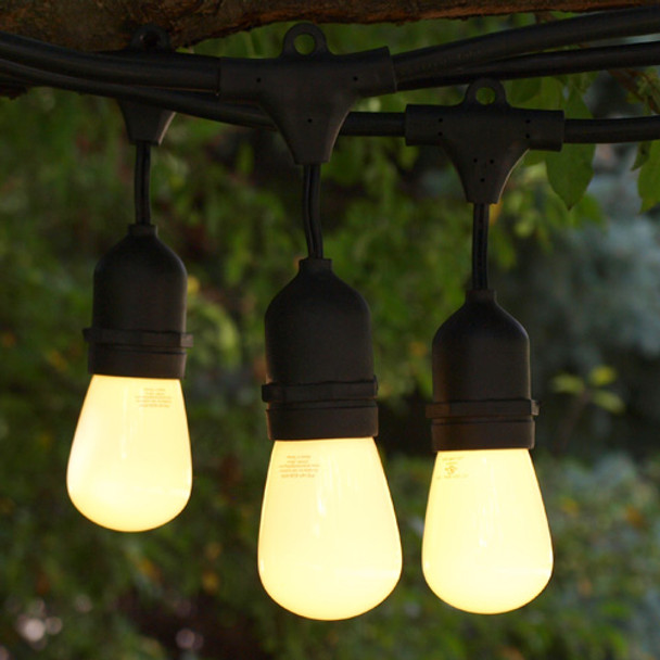 100' Black LED Outdoor String Light, Suspended Sockets & Professional LED S14 Bulbs, Opaque Warm White
