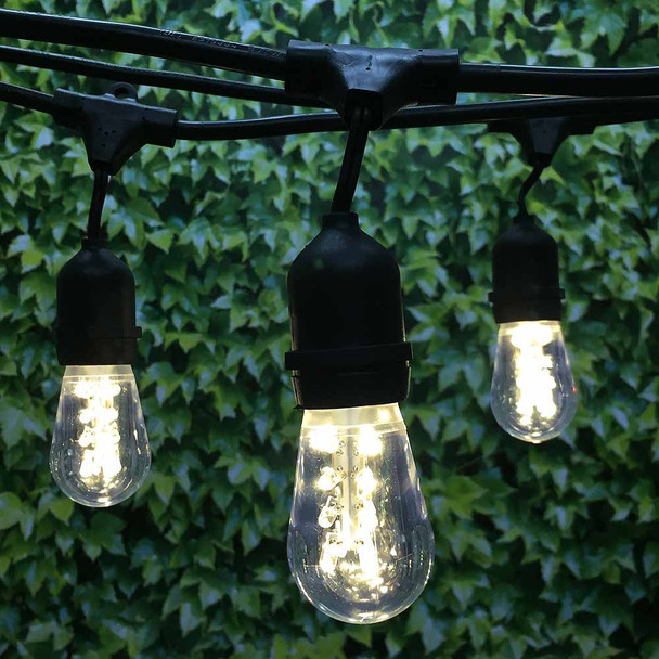 100' Black LED Commercial String Light, Suspended Sockets & Premium LED S14 Bulbs