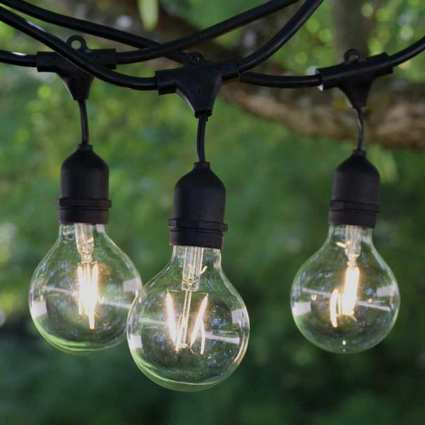 100' Black LED Vintage String Light, Suspended Sockets & LED G80 Vintage Bulbs