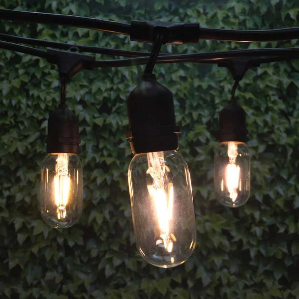 100' Black LED Vintage String Light, Suspended Sockets & LED T14 Vintage Bulbs