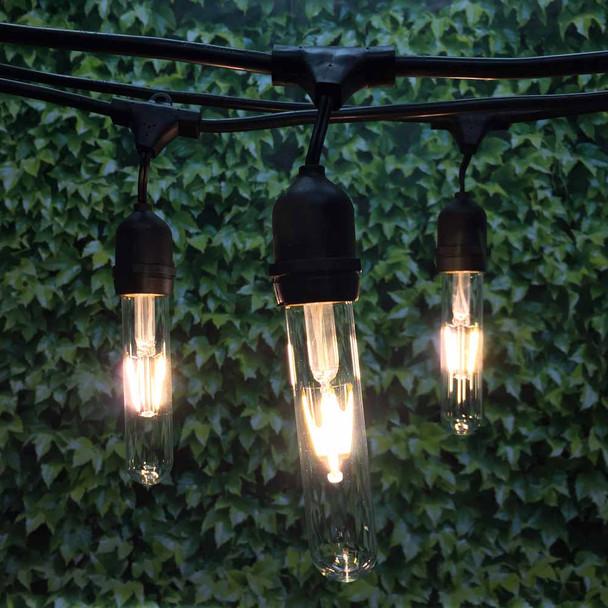 100' Black LED Vintage String Light, Suspended Sockets & LED T9 Vintage Bulbs