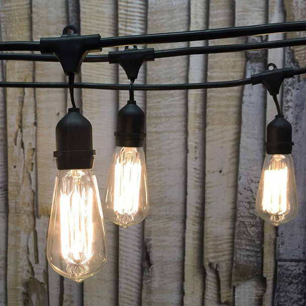 48' Black Vintage String Light with Suspend Socket & ST58 Edison Bulbs