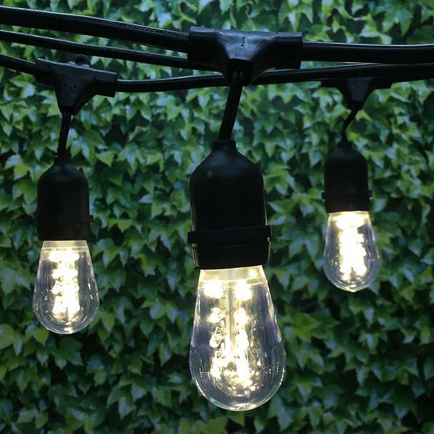 330' Black LED Commercial String Light, Suspended Sockets & Premium LED S14 Bulbs