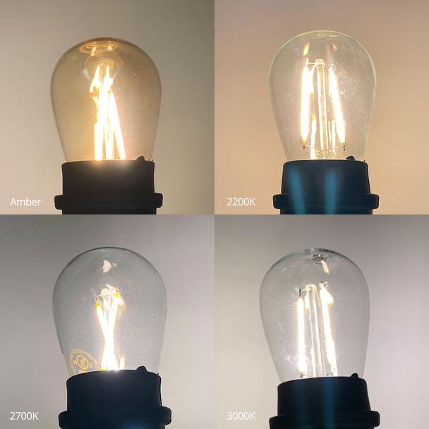LED S14 Vintage Filament Bulb color temperature comparison