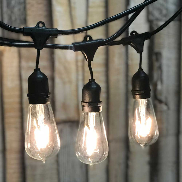 LED Vintage Outdoor String Lights with ST18 Bulbs & Suspended Sockets