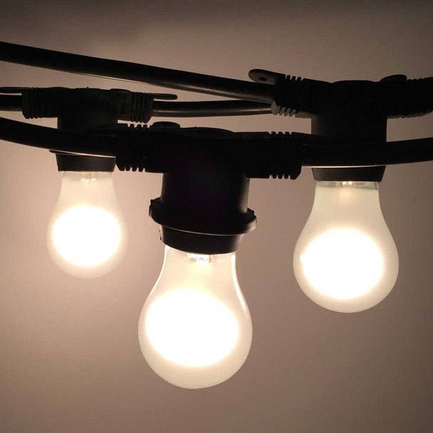 100' Black Commercial Grade String Light with Frosted A15 Bulbs