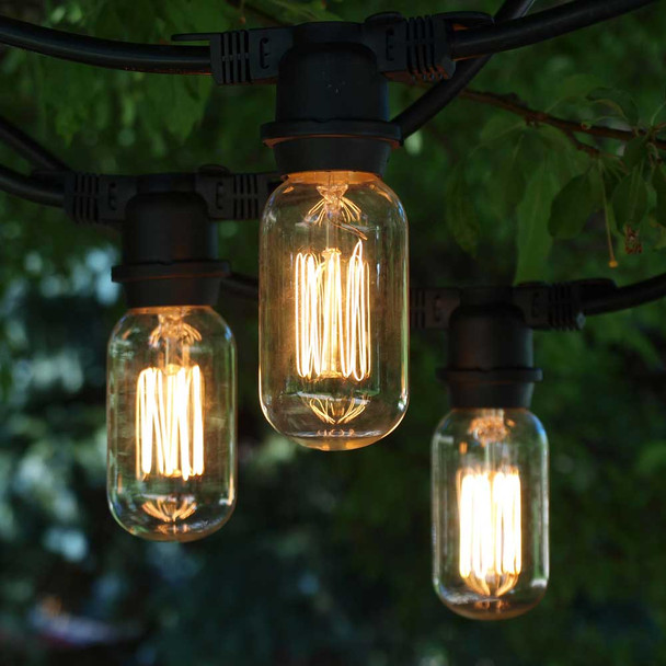 100' Black Vintage Commercial String Lights with Squirrel Cage T14 Edison Bulbs