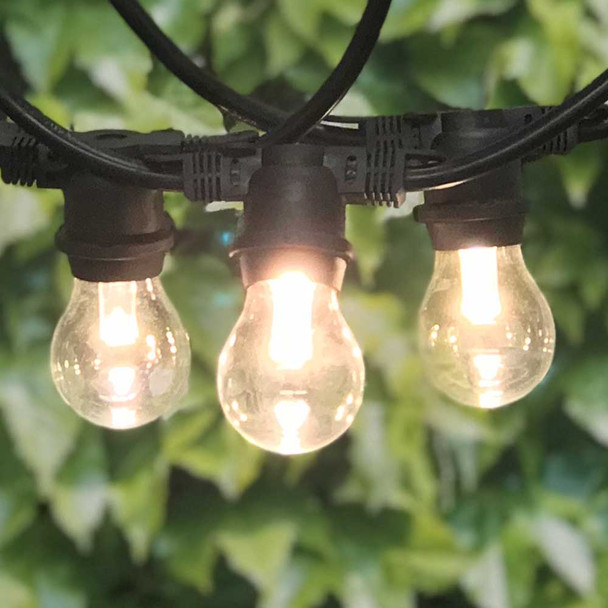 100' Black LED Commercial String Light with Professional LED A15 Bulbs
