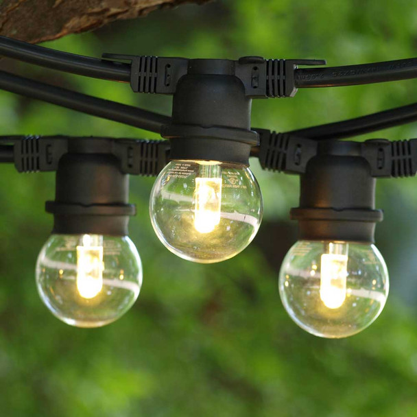 100' Black Outdoor String Lights with LED G50 Professional Bulbs