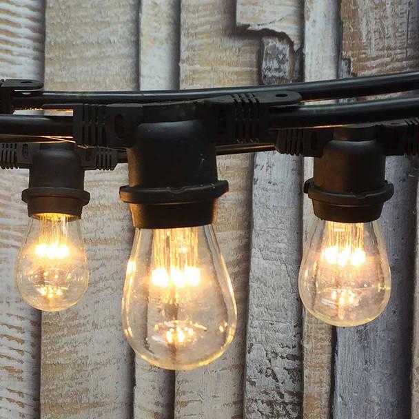 100' Black LED Commercial String Light & LED S14 Premium Bulbs (9 LEDs)