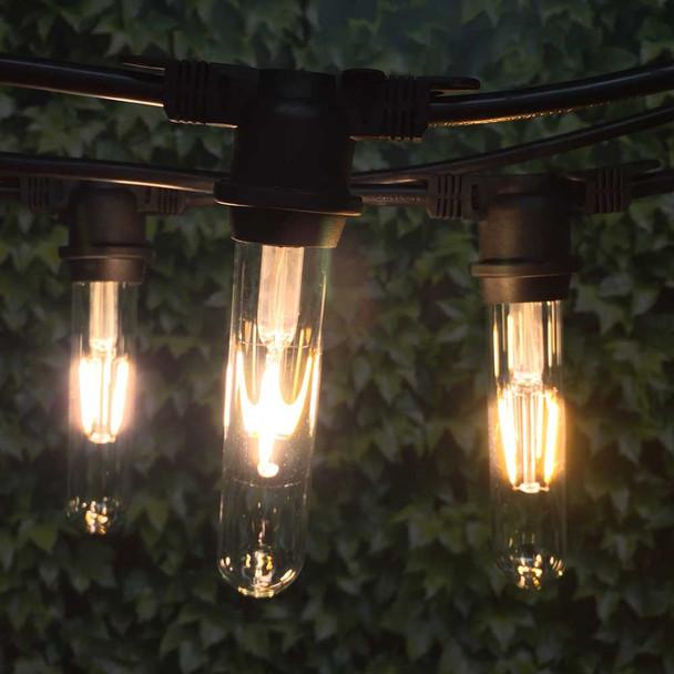 100' Black Vintage String Light & LED T18 Vintage Bulbs