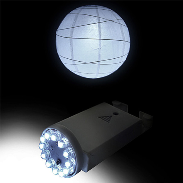 Extra Bright LED Battery Operated Lantern Light Kit shown with Paper Lantern