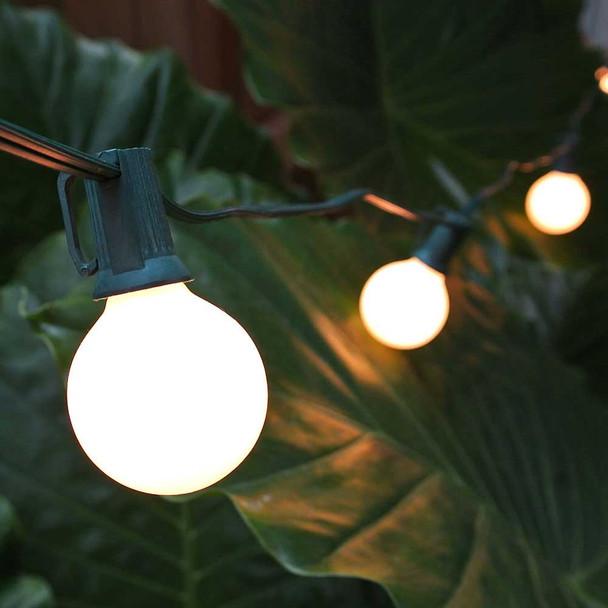 Green C7 String Light with White Satin G40 Bulbs