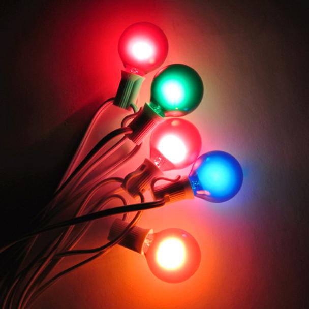 White C7 String Light with Multi Satin G40 Bulbs