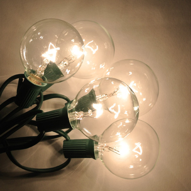 Green C7 String Light with Clear G50 Bulbs