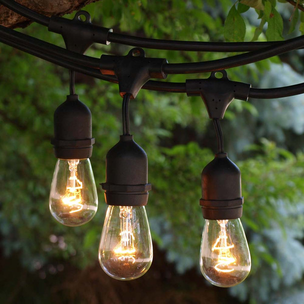 Black Commercial Grade String Light Cord with Suspended Sockets and S14 Bulbs
