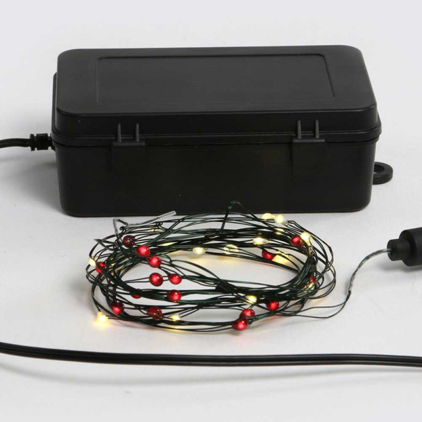 Red & White Fairy Lights - Battery Operated Coil