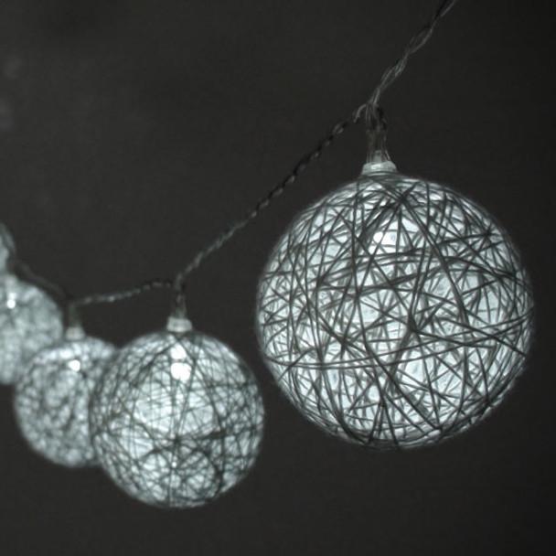 Cotton Ball String Lights Closeup