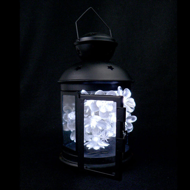 Battery Operated Flower String Lights in Lantern