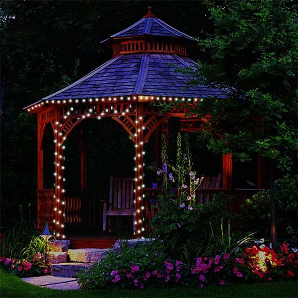 White Solar Mini Lights on gazebo