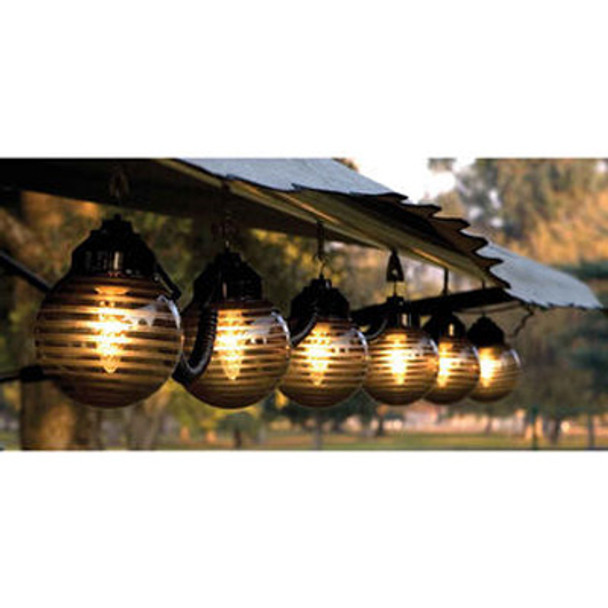 Etched Bronze Awning Lights hanging on awning