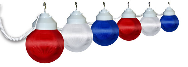 Red, White & Blue Awning Lights - 6 lights