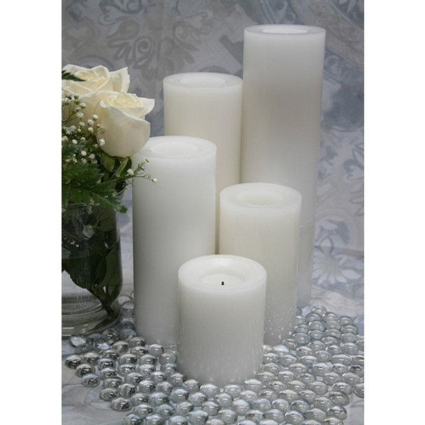 Wax Pillar Battery Operated Candle Group White