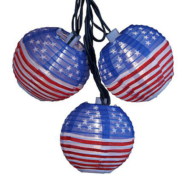 USA Flag Lantern String Lights