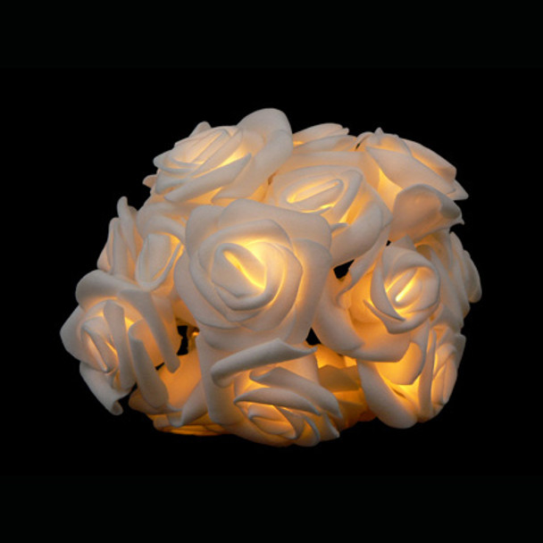 White Rose String Lights - Battery Operated Cluster