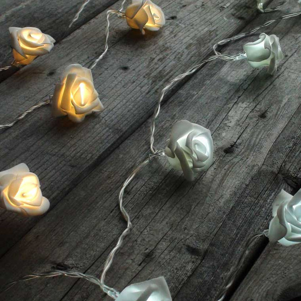 White Rose String Lights - Battery Operated both whites