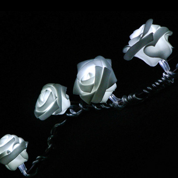 White Rose String Lights - Battery Operated