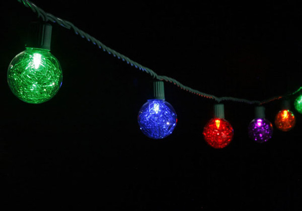 LED G40 Tinsel Globe String Lights, string view