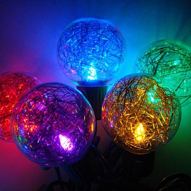 LED G40 Tinsel Globe String Lights, close up