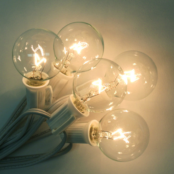 Globe Patio String Lights with G40 clear bulbs and white cord