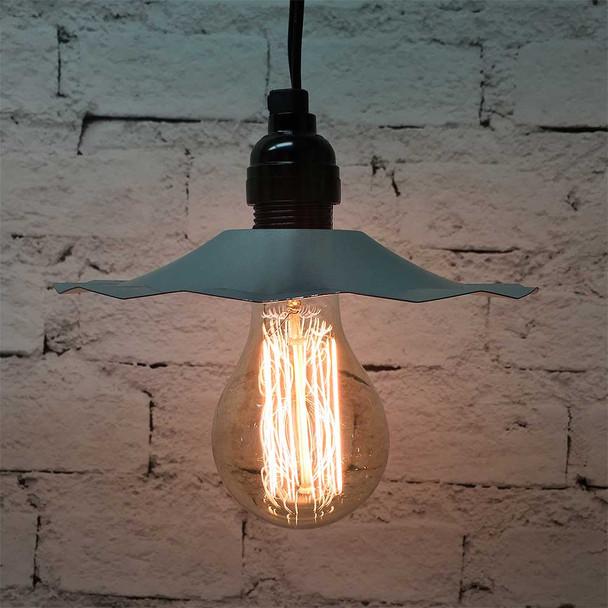 Pendant Light Set with Galvanized Shade & A75 Vintage Edison Bulb