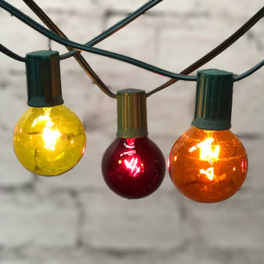FALL SILICONE BULB LIGHT STRAND Grungy Orange Gold Red Bulbs 35 Ct Brown Cord
