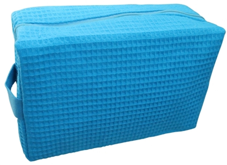 "Large Aqua Cotton Waffle Cosmetic Bag. 9""x7""x3.5"" with PVC liner and inner side pocket."
