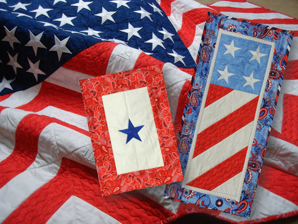 """HoopSisters """"Old Glory"""" design makes a large flag quilt, a Blue Star Service Banner, and Lil' Glory."""