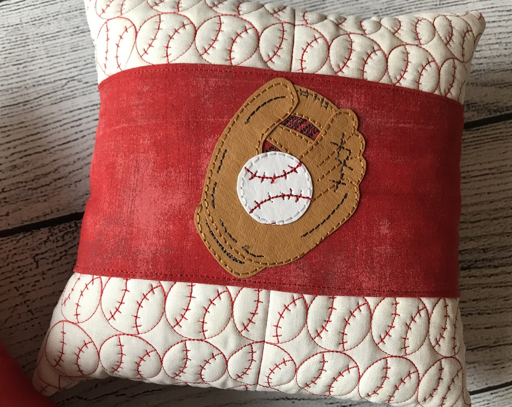 Baseball Pillows & Wrap with Button Covers! Quilt-in-the-hoop style! Quilt-in-the-hoop style with Kraft-tex!