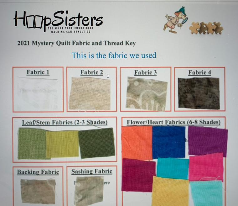 2021 Mystery Quilt Fabric & Thread Key