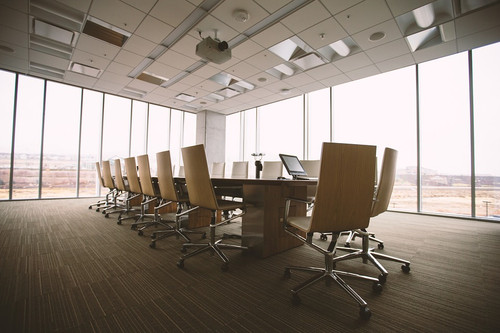 sleek conference room, empty