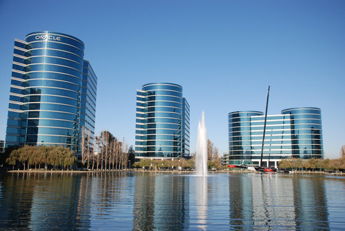 office buildings surround body of water