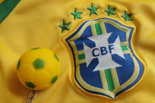 Brazil soccer jersey and keychain