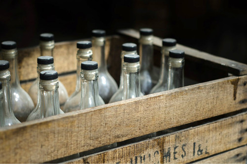 crate of empty bottles