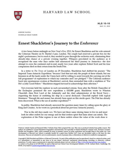 shackleton case study pdf