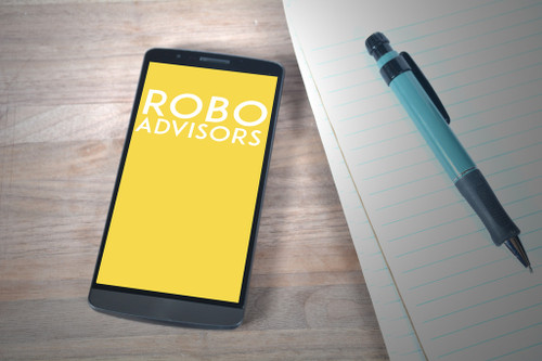 "phone with ""robo advisors"" written on screen"