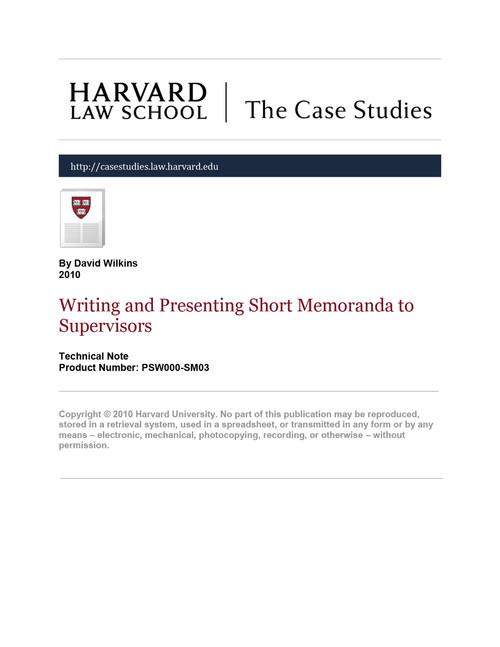 Writing and Presenting Short Memoranda to Supervisors