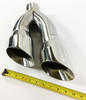 """Exhaust Tip 3.00"""" Inlet 4.00"""" Outlet 16.00"""" long Dual Slant Angle Stainless Steel  WDWD304016-300-SS Wesdon Exhaust Tip"""