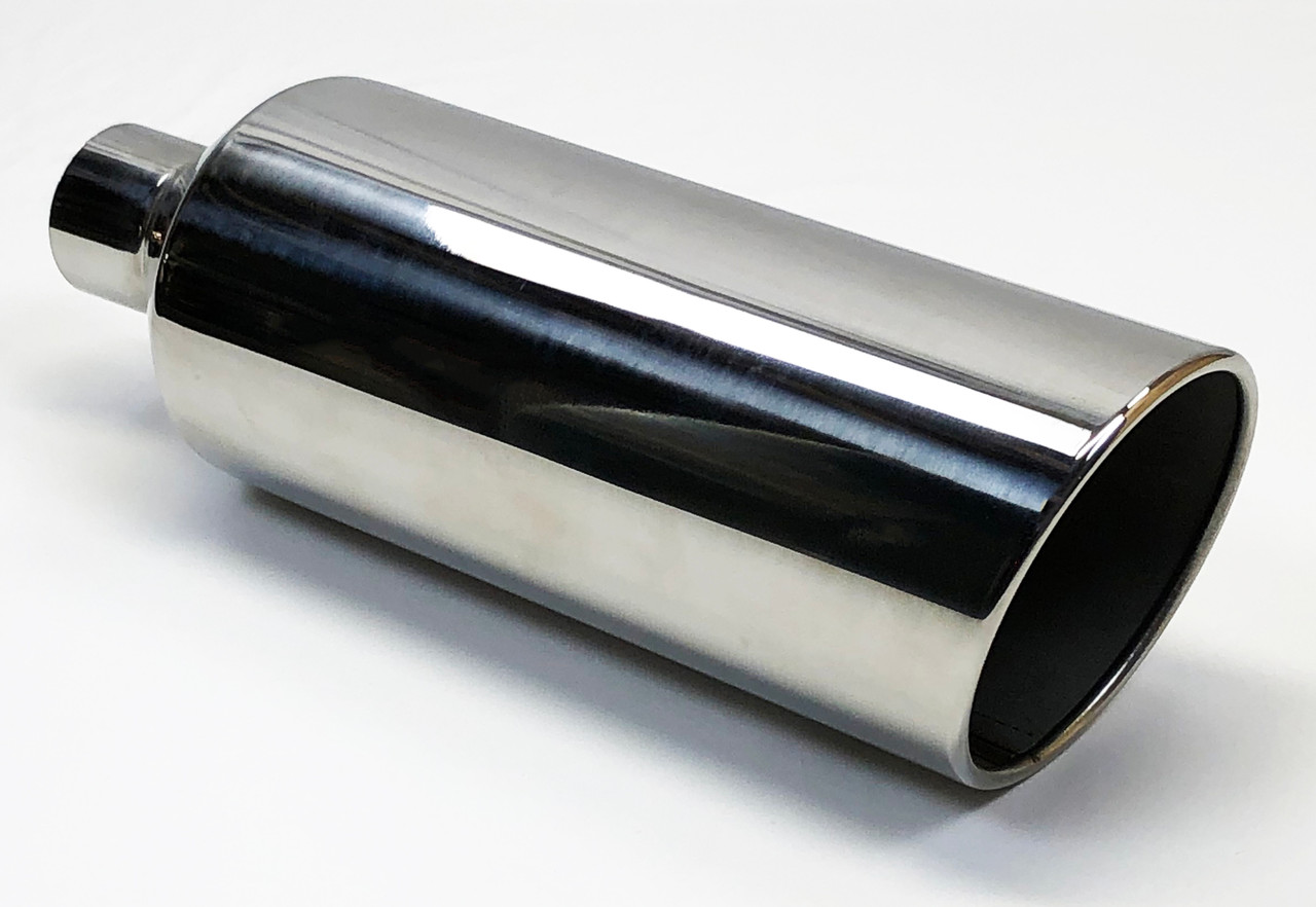 """Exhaust Tip 2.50/"""" Inlet 3.50 Dia 10.00/"""" Long  B Body Universal Slotted Stainless"""